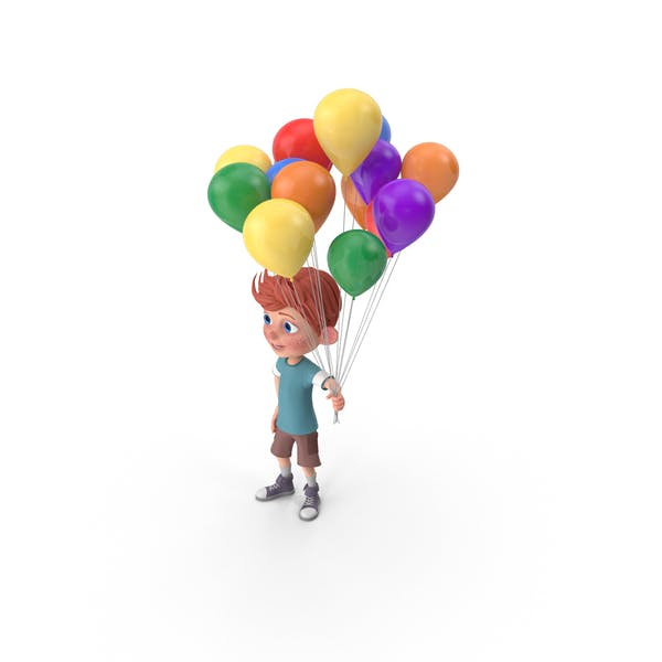 Thumbnail for Cartoon Boy Charlie Holding Balloons