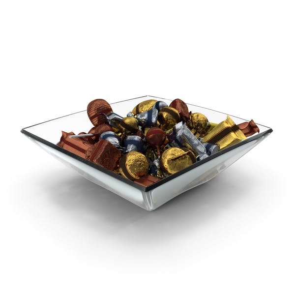 Square Bowl with Mixed Fancy Wrapped Candy