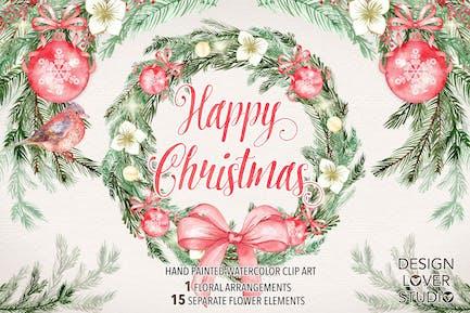 """Watercolor """"Happy Christmas"""" design"""