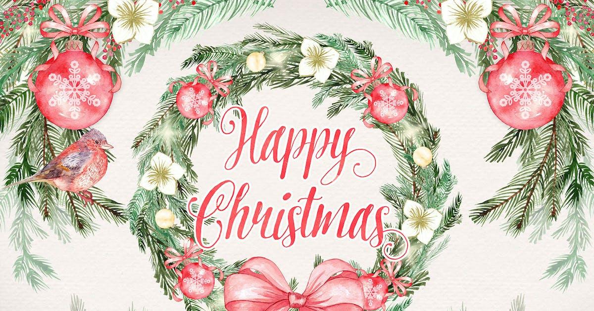 """Download Watercolor """"Happy Christmas"""" design by designloverstudio"""