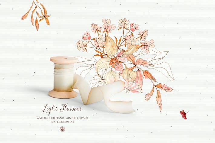 Thumbnail for Light Flowers - watercolor clipart set