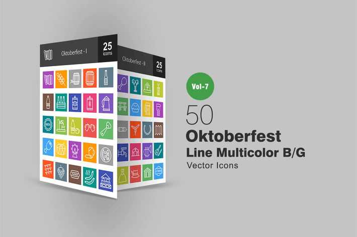 Thumbnail for 50 Oktoberfest Line Multicolor B/G Icons