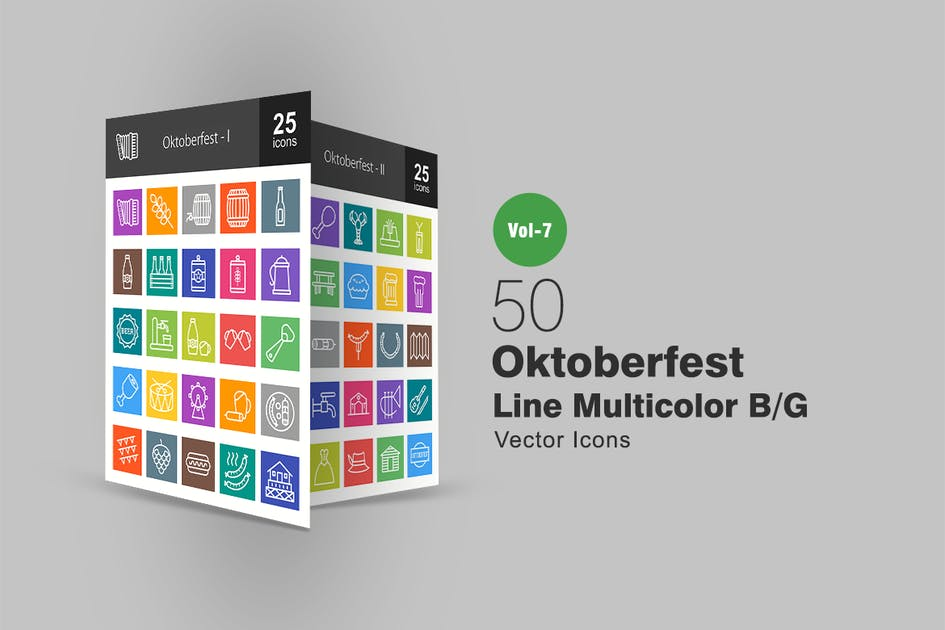 Download 50 Oktoberfest Line Multicolor B/G Icons by IconBunny