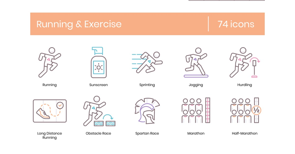 Download 74 Running & Exercise Line Icons by Krafted