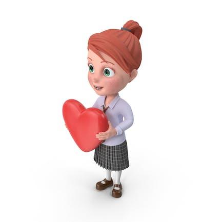 Cartoon Mädchen Gnade mit Herz