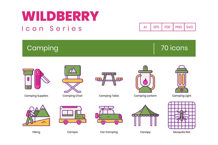 70 Camping Icons | Wildberry Series