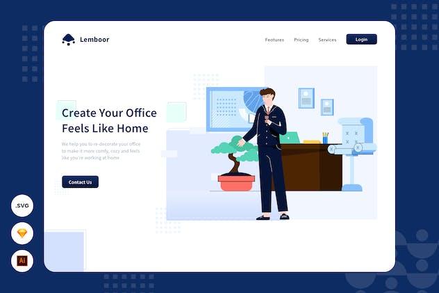 Coworking Space - Website Header - Illustration