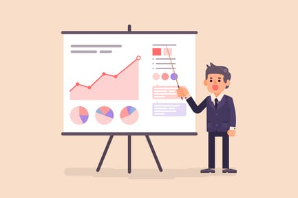 Business Man Presenting Diagram and Chart