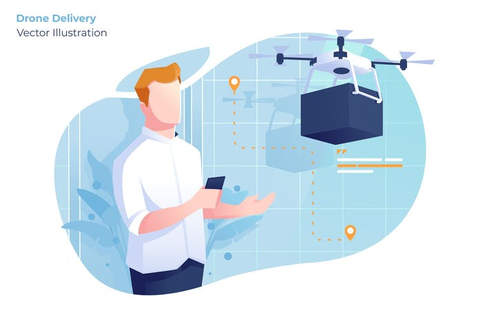 Thumbnail for Drone Delivery - Vector Illustration