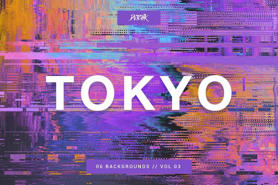Tokyo  City Glitch Backgrounds   Vol. 03