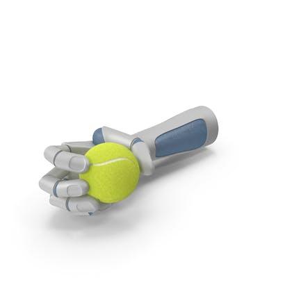 RoboHand держит теннисный мяч