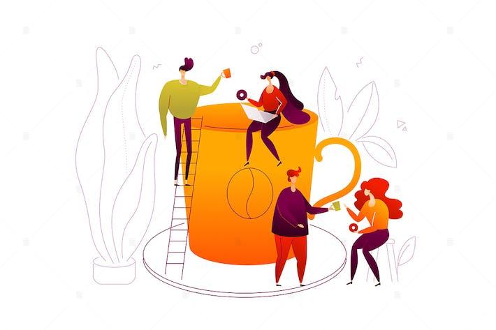 Thumbnail for Coffee break - flat design style illustration