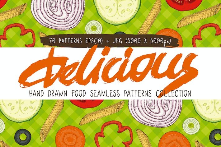 Thumbnail for Food Seamless Patterns Collection