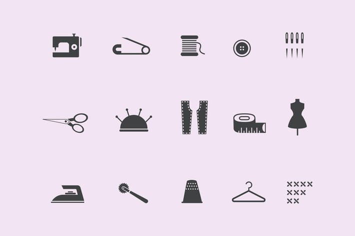 Thumbnail for 15 Sewing and Stitching Icons