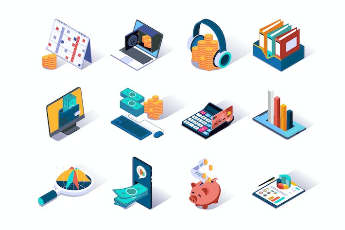Accounting and Auditing Isometric Icons Set