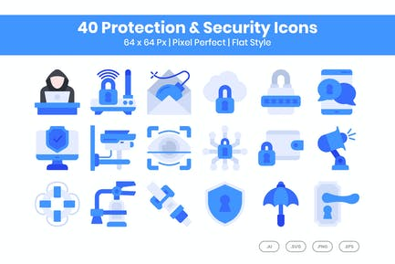 40 Protection & Security Icons Set - Flat