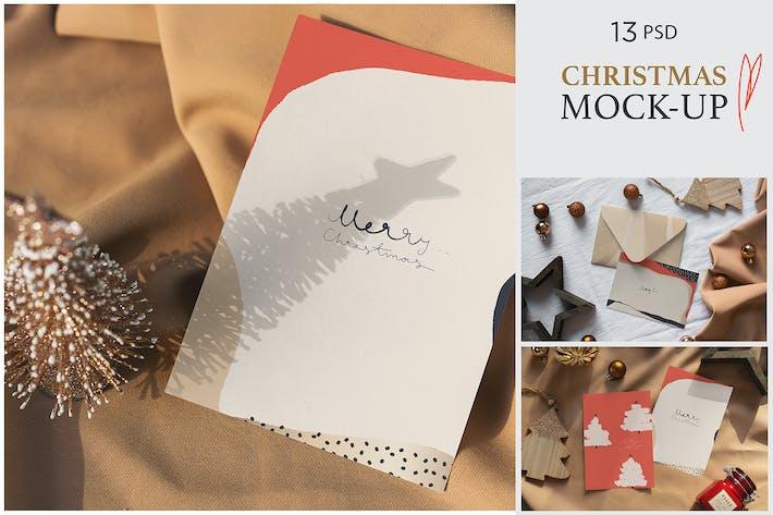 Thumbnail for Christmas Postcard Mock-Ups