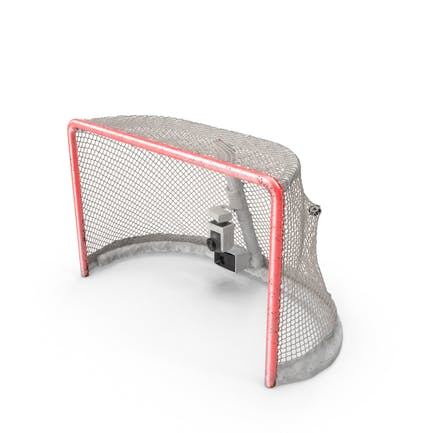 Ice Hockey Goal With Puck Stretching Net Bottom