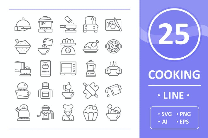 Thumbnail for Cooking Icons - Line