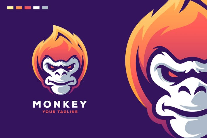 Thumbnail for monkey fire logo design
