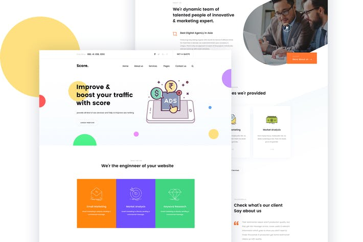 Thumbnail for Score. - SEO & Marketing Agency PSD Template