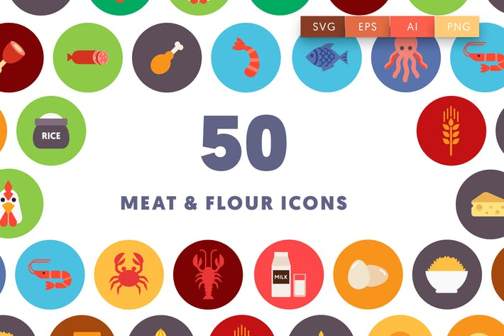 50 Meat & Flour Food Icons