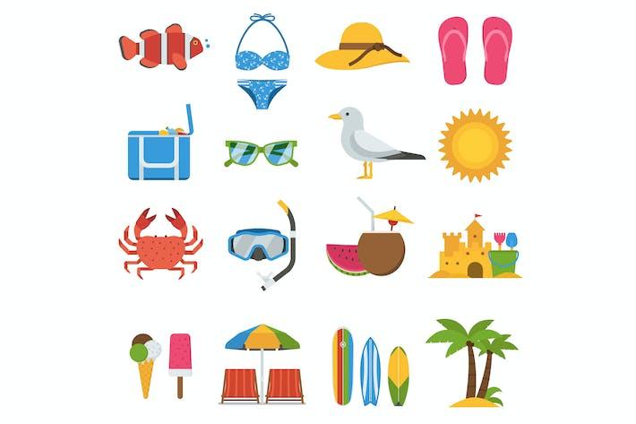 Sommer Strand Urlaub Icon Set