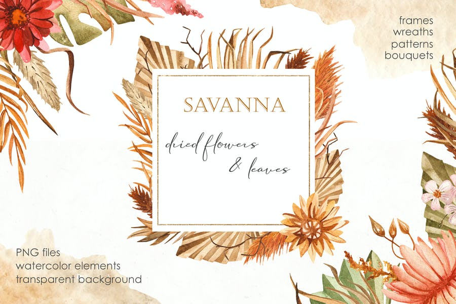 Watercolor Savanna dried flowers and leaves