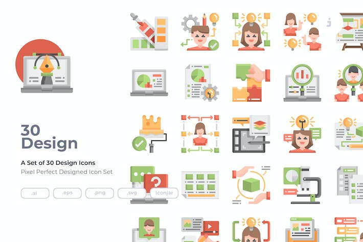 Thumbnail for 30 Design and Thinking Icons - Flat