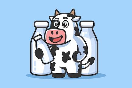 Dibujos animados de vaca con botella de leche ilustración