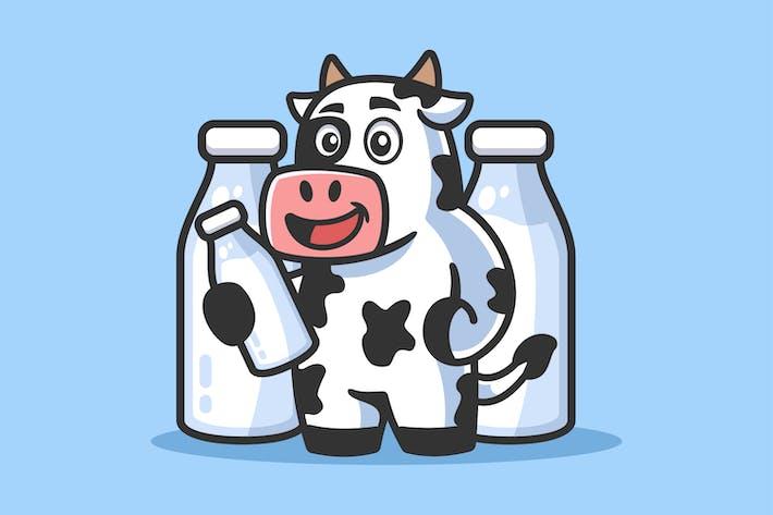 Cartoon Cow with Milk Bottle illustration