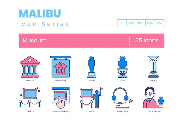 85 Museum Line Icons