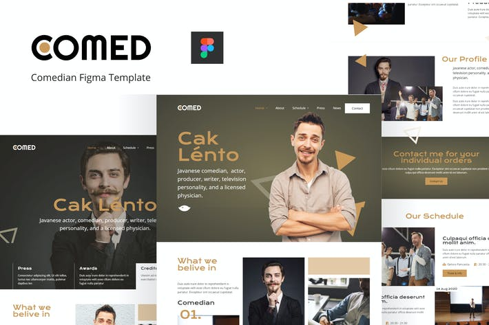 Thumbnail for Comed - Comedian Figma Template