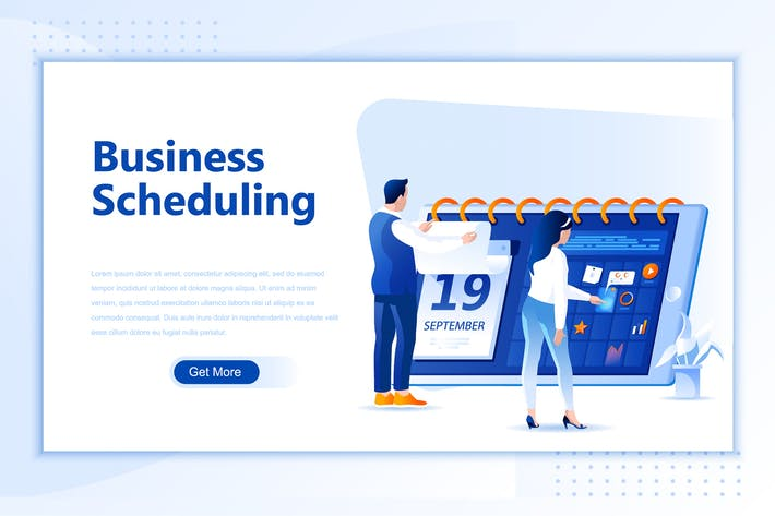 Thumbnail for Business Schedule Flat Landing Page Header