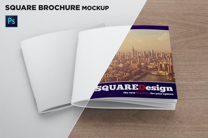 Thumbnail for 2 Square Covers Brochure Mockup