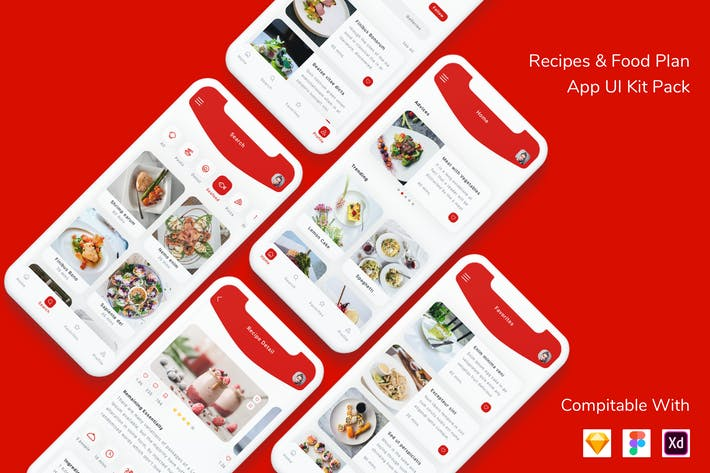Thumbnail for Recipes and Food Plan App UI Kit Pack