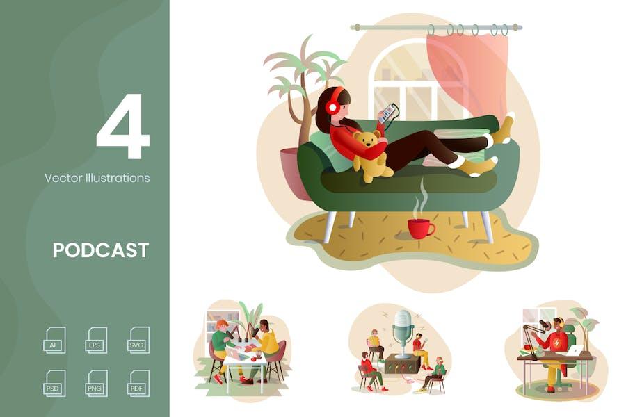 Podcast-Illustrationen