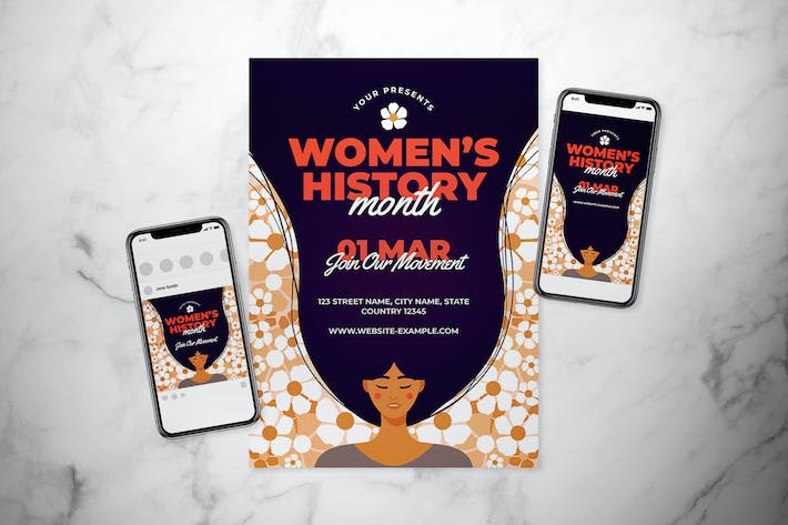 Cover Image For Women's History Month Flyer Set