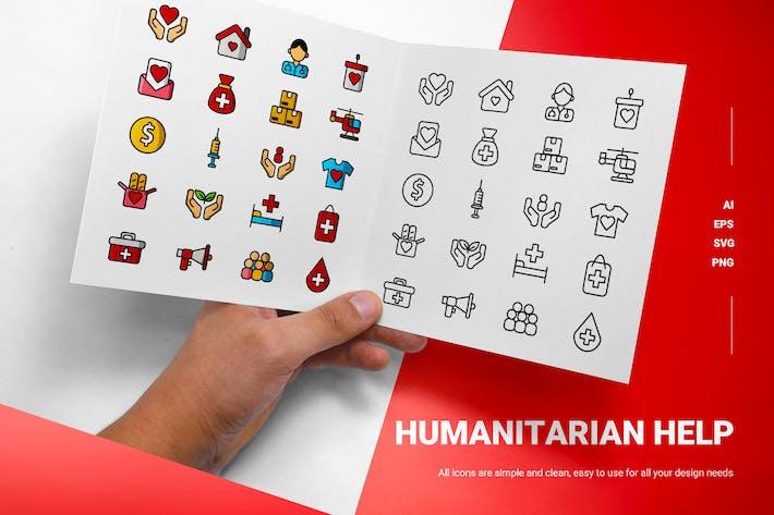Humanitäre Hilfe - Icons