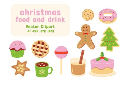 Christmas Food Vector Clipart Collection