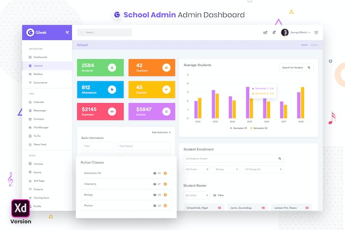 Thumbnail for School Admin Dashboard UI Kit (XD)