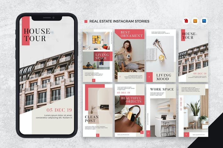 Thumbnail for Real Estate Instagram Stories AI and PSD Template