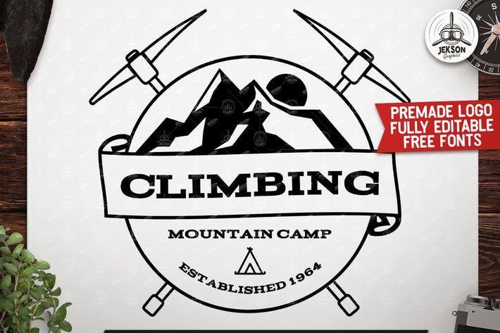 Thumbnail for Retro Climbing Logo, Vintage Custom Travel Badge