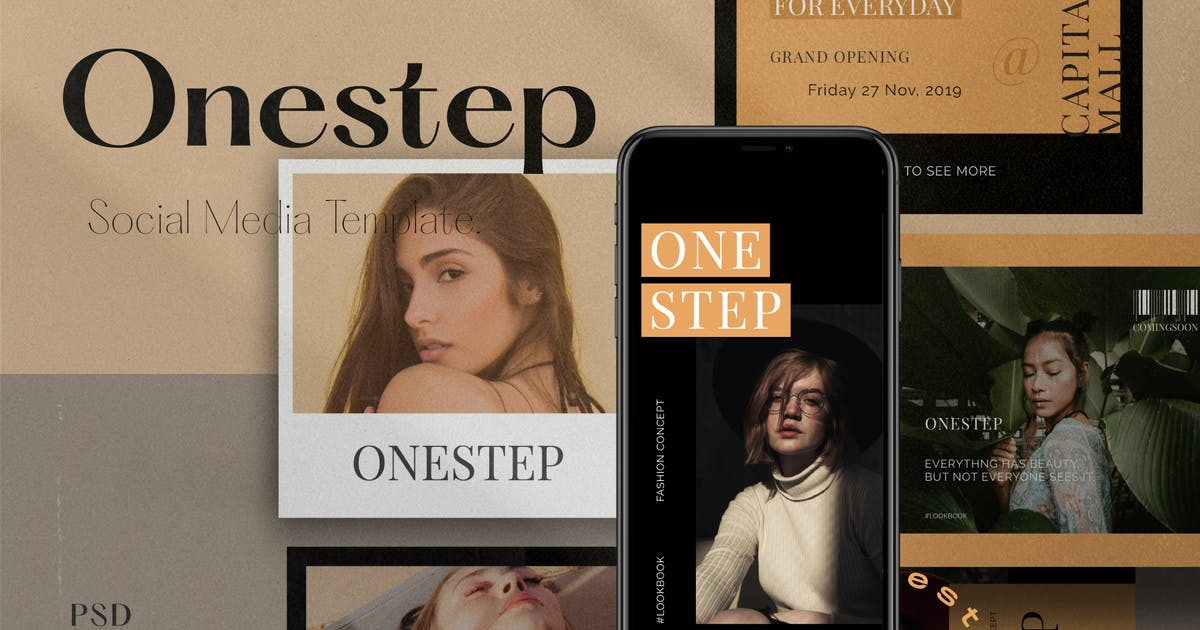 Download One Step PACK 1 - Instagram Template + Stories by dirtylinestudio