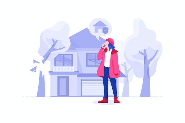 Thumbnail for Hausversicherung Vektor Illustration Konzept