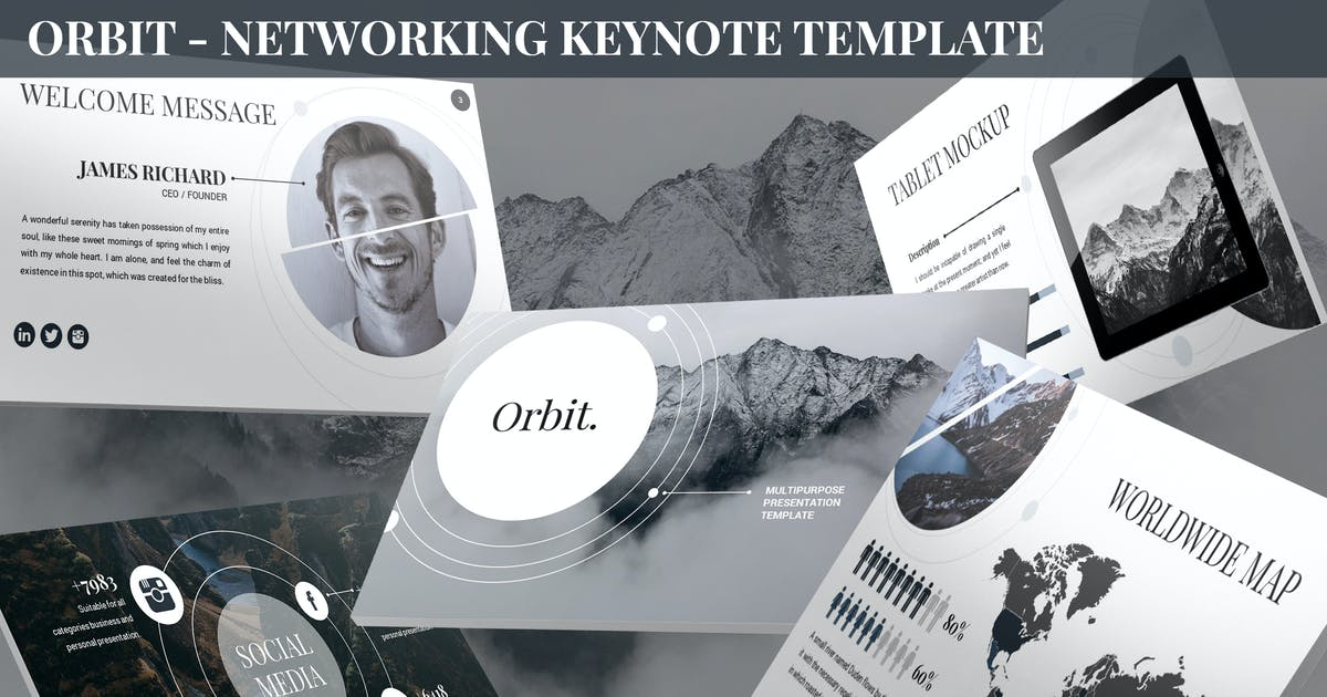 Download Orbit - Networking Keynote Template by SlideFactory