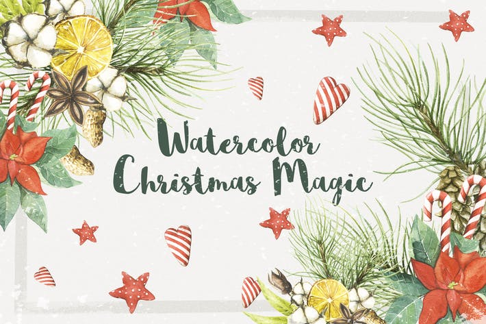 Cover Image For Watercolor Christmas Magic