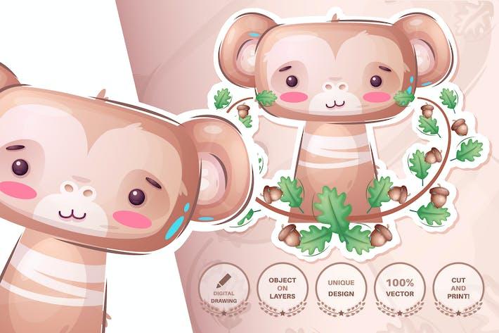Thumbnail for Cute monkey - seamless pattern