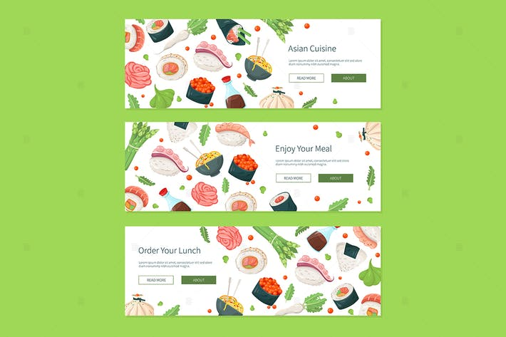 Thumbnail for Asiatische Küche - bunte flache Design Stil Banner