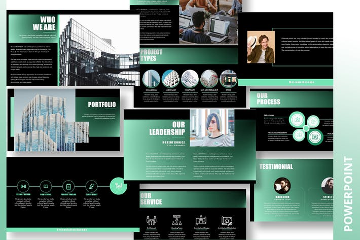 Thumbnail for Picazo Black - Architecture Powerpoint Template